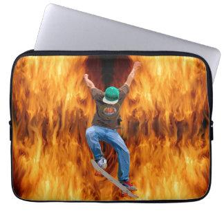 Skateboarder & Flames Action Sports Art Laptop Sleeve