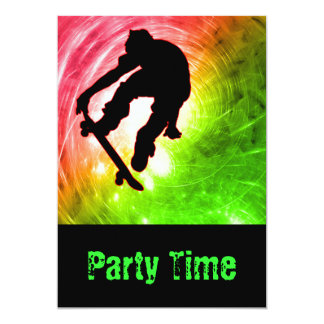 Skateboarder in a Psychedelic Cyclone Party Card