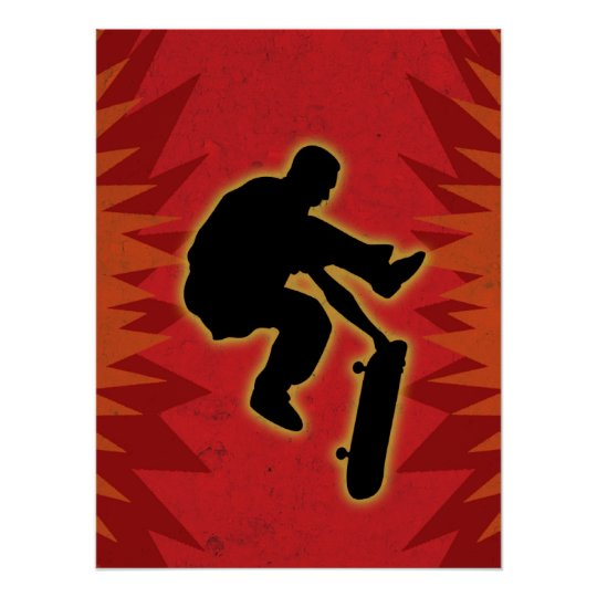 Skateboarder In Flames Poster