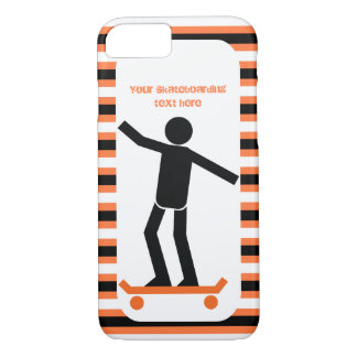 Skateboarder on his skateboard and stripes Case-Mate iPhone case