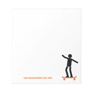 Skateboarder on his skateboard custom notepad