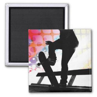 Skateboarder Silhouette Square Magnet