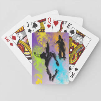 Skateboarders Playing Cards