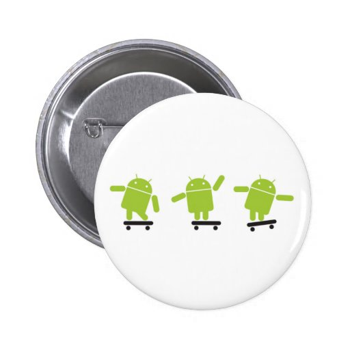Skateboarding Android Pinback Buttons