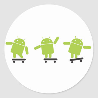 Skateboarding Android Classic Round Sticker