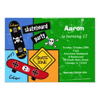 "Skateboarding Birthday (Green) 5"" X 7"" Invitation Card"