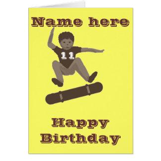 Skateboarding Boy Heel Flipping Birthday card