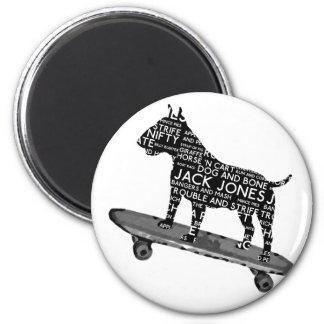 skateboarding bull terrier Cocney London Slang 2 Inch Round Magnet
