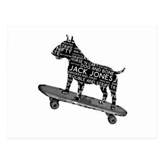 skateboarding bull terrier Cocney London Slang Postcard