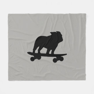 Skateboarding Bulldog Silhouette Fleece Blanket