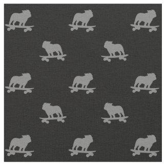 Skateboarding Bulldog Silhouettes Pattern Fabric