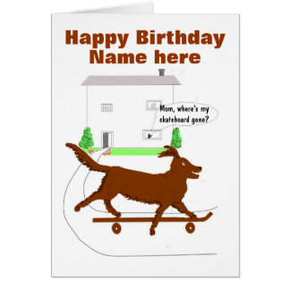Skateboarding Dog Birthday Card