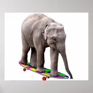 Skateboarding elephant poster