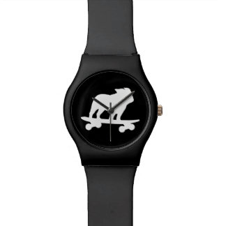 Skateboarding English Bulldog Silhouette Watch