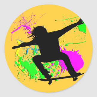 Skateboarding Extreme Classic Round Sticker