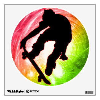 Skateboarding in Psychedelic Cyclone Wall Decal