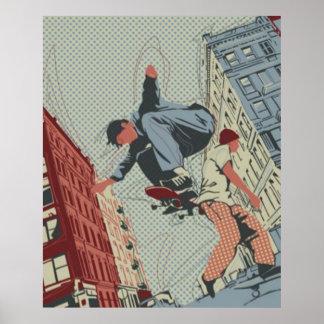 Skateboarding in the City Poster