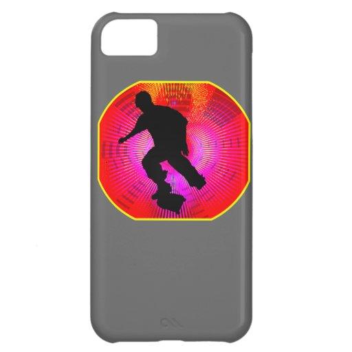 Skateboarding on Fluorescent Starburst Case For iPhone 5C