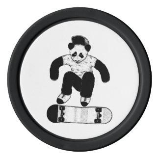 Skateboarding Panda Poker Chips