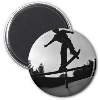skateboarding silhouette 2 inch round magnet