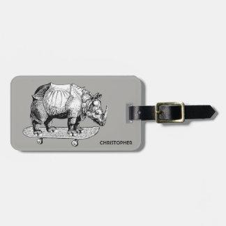 Skateboarding Skater Rhino Chubby Unicorn Funny Luggage Tag
