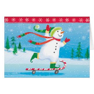 Skateboarding Snowman Greeting Card