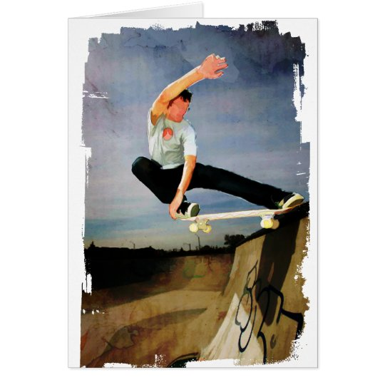 Skateboarding the Wall Greeting Card