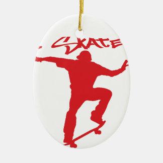 Skateboarding trick ceramic ornament