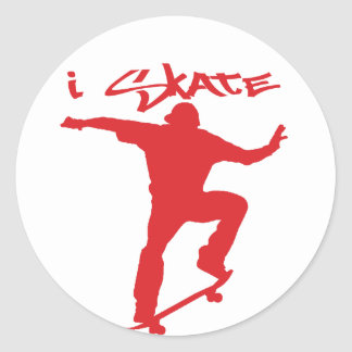 Skateboarding trick round sticker