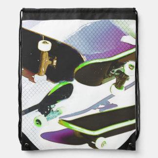 Skateboards - urban sports collage drawstring bag