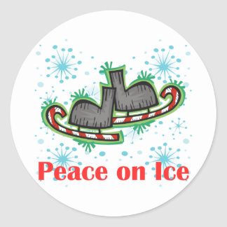 SkateChick Peace On Ice Classic Round Sticker