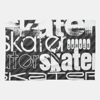 Skater; Black & Dark Gray Stripes Kitchen Towel