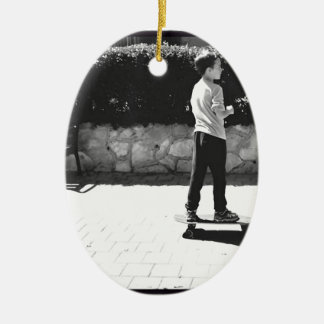 skater boy ceramic ornament