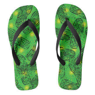 Skater Boy Green Footprints Pattern Flip Flops