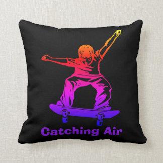 Skater Boy Rainbow Skateboarder Catching Air Throw Pillow
