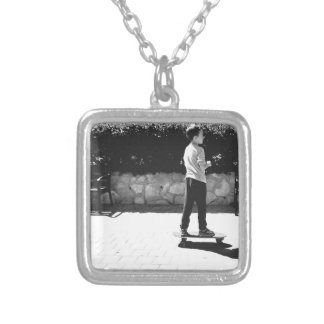 skater boy silver plated necklace