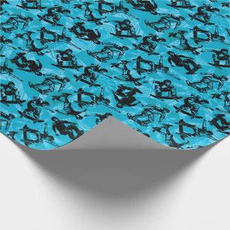 Skater Boy Skateboarders Blue Wrapping Paper