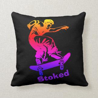 Skater Boy Stoked Rainbow Skateboarder Throw Pillow
