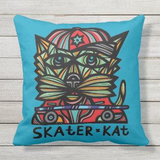 Skater Kat BuddaKats Outdoor Pillow