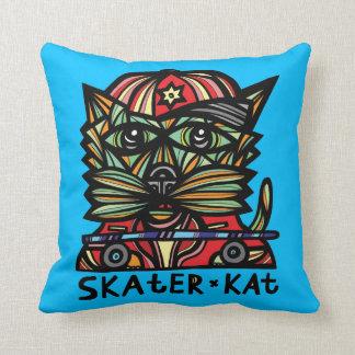 """""""Skater Kat"""" Throw Pillow 16"""" x 16"""""""