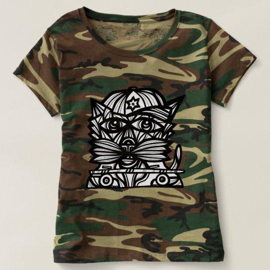 """Skater Kat"" Women's Camouflage T-Shirt"