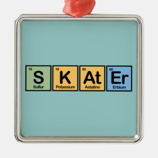 Skater made of Elements Silver-Colored Square Ornament