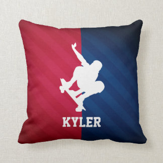 Skater; Red, White, and Blue Throw Pillow