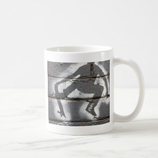 Skater Stencil wall art in greys and white Coffee Mug