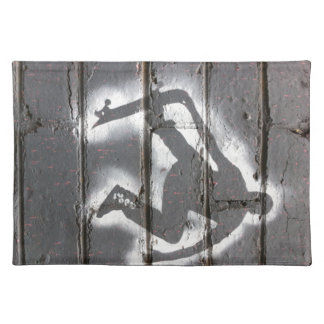 Skater Stencil wall art in greys and white Placemats