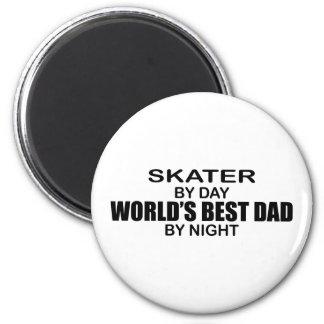 Skater - World's Best Dad by Night 2 Inch Round Magnet