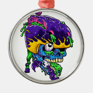 Skater zombie. Silver-Colored round ornament