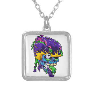 Skater zombie. silver plated necklace