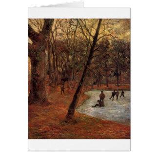 Skaters in Fredericksberg park by Paul Gauguin Card