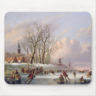Skaters on a Frozen River before Windmills (oil on Mouse Pad